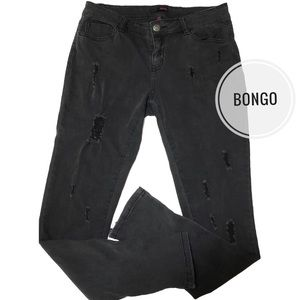 Bongo Distressed Skinny Jeans with Ankle Zippers